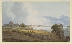 Fort at Allahabad (U.P.) seen from the river.